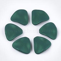 perles acryliques de style caoutchoutées, vague, triangle, vert, 24x26x5.5 mm, trou: 1.5 mm(MACR-T026-18D)
