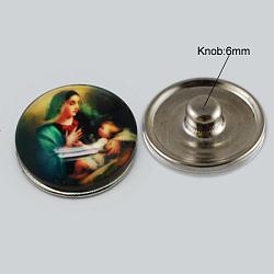 Boutons de bijoux en laiton, avec cabochons de verre, plat rond, platine, pour la sainte, sarcelle, 18x8~10mm, Bouton: 5~5.5 mm(X-GLAA-R031-K213B)