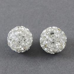 Perles de boule pavé disco , Perles de strass en argile polymère, rond, cristal, 12mm, Trou: 2mm(X-RB-A180-12mm-4)