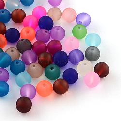 Матовые прозрачные стеклянные бусины, круглые, разноцветные, 4~4.5x4 мм, отверстия: 1 мм; около 100 шт / мешок