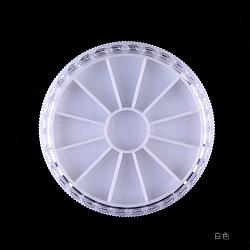perle en plastique conteneurs, boîte à bijoux pour la décoration d'art d'ongle, plat rond, blanc, 58 mm; 12 compartiments(MRMJ-Q034-023A)