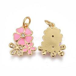 pendentifs en laiton, avec de la zircone cubique et de l'émail, fleur, or, rose, 15.5~16x12.5x2.7~2.8 mm, trou: 3.2 mm(KK-E773-01C-G)