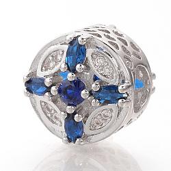 micro cuivres ouvrent zircone cubique perles européennes, grandes perles de trou, plat rond, platine, marineblue, 12x11 mm, trou: 4.5 mm(ZIRC-T002-66A)