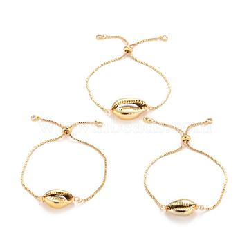 Adjustable Brass Bolo Bracelets, Slider Bracelets, with Electroplated Shell Beads, Cowrie Shells, Golden, 9 inches(23cm), 1.3mm, Shell Beads: 18~23x14.5x7.5mm(X-BJEW-JB03956-02)