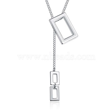 Brass Lariat Necklaces, Rectangle, Silver Color Plated, Rectangle: 22x13mm & 9x5mm(NJEW-BB35265-S)