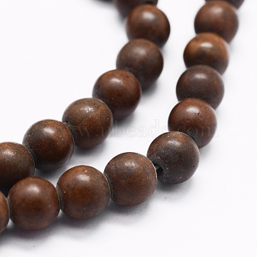 Natural Petrified Wood Beads Strands, Round, 8mm, Hole: 1mm; about 49pcs/strand, 15.7 inches(G-K257-05-8mm)