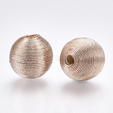 Polyester Cord Fabric Beads, with Wood Inside, Round, NavajoWhite, 19.5~20.5x19~20mm, Hole: 3.5~4.5mm(WOVE-S117-20mm-05)