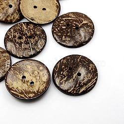 Boutons de noix de coco, 2-trou, plat rond, coconutbrown, 44x5mm, Trou: 4mm(X-COCO-I002-103)