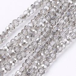Perles en verre à facettes gris rondelle, 3x2mm, trou: 0.5mm; environ 197 pcs/chapelet, 16.9