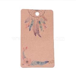Cartes d'affichage de boucles d'oreilles en carton, rectangle avec filet tissé / bande et motif de plumes, burlywood, 9x5x0.04 cm, Trou: 1.5mm(CDIS-F003-08B)