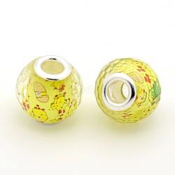 résine rondelle grand trou facettes perles européennes, avec doubles noyaux en laiton plaqué couleur argent, jaune, 16x15 mm, trou: 5 mm(RPDL-L003-076)