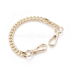 Bag Strap Chains, Iron Curb Link Chains, with Swivel Lobster Claw Clasps, Golden, 290x10x3mm(X-IFIN-WH0025-01G)