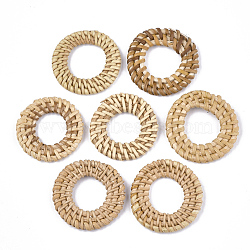 Handmade Reed Cane/Rattan Woven Linking Rings, For Making Straw Earrings and Necklaces, Ring, BurlyWood, 40~45x4~6mm, Inner Diameter: 20~25mm(X-WOVE-T006-157B)