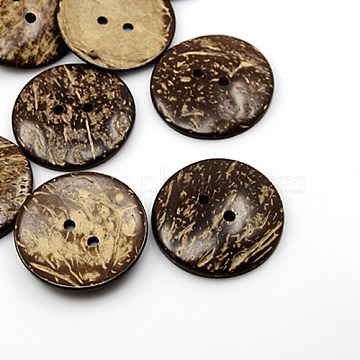 44mm CoconutBrown Flat Round Coconut 2-Hole Button