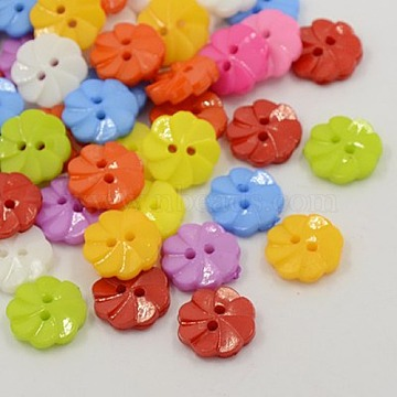 Acrylic Buttons, 2-Hole, Dyed, Flower, Mixed Color, 13x3mm, Hole: 2mm(X-BUTT-E007-A-M)