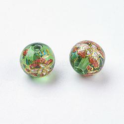 Fleur photo perles de verre imprimé, rond, verte, 8x7mm, Trou: 1mm(GLAA-E399-8mm-B05)