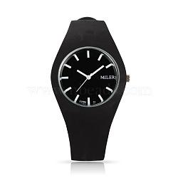 En acier inoxydable de montres-bracelets de silicone de quartz des femmes à la mode, noir, 255x18 mm; tête de montre: 32x42x9 mm(WACH-N008-11E)