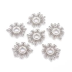 Style tibétain connecteur cabochon supports, sans plomb et sans cadmium, fleur, argent antique, Longueur 35.5mm,  largeur de 29 mm, épaisseur de 1.5mm, Trou: 1.5mm(X-EA541Y)