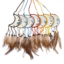 Chicken Feather Handmade Woven Net/Web with Feather Big Pendants, with Natural Wood Beads, Natural & Synthetic Gemstone, Cotton and Waxed Cord, Moon, Mixed Color, 210~280x51.5x2~7mm(AJEW-S080-006)
