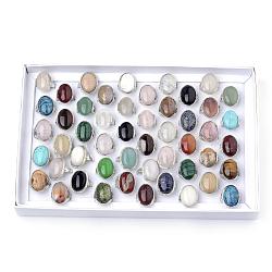 Bagues en pierre mixtes naturelles et synthétiques, avec les accessoires en alliage, platine, couleur mixte, 18~20 mm; environ 50 pcs / boîte(RJEW-R135-03-B)