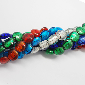 Handmade Silver Foil Glass Beads, Flat Round, Mixed Color, 20x20x5mm, Hole: 3mm(FOIL-R055-M)