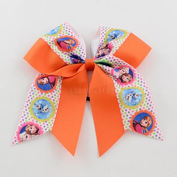 Girls' Kawaii Hair Accessories Bowknot Elastic Hair Ties, with Printed Grosgrain Ribbon, Dark Orange, 46mm(OHAR-R218-02)