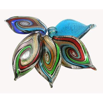 Mixed Color Leaf Silver Foil Big Pendants