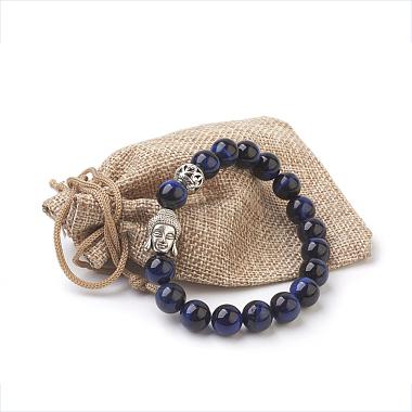 Natural Lapis Lazuli Beads Stretch Bracelets(BJEW-JB03849-04)-3