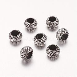 Perles européennes en acrylique, rondelle, argent antique, 7x5mm, Trou: 4mm(X-OPDL-2225)