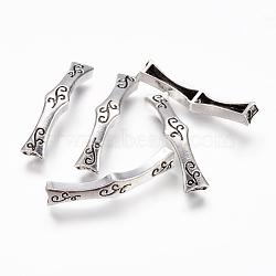 Perles de tube en alliage de style tibétain, courbé, argent antique, 38x7x4mm, Trou: 2mm(PALLOY-P144-01AS)