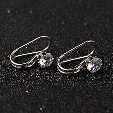 304 Stainless Steel Rhinestone Cuff Earrings, Stainless Steel Color, 19x8x12mm(EJEW-M055-01P)