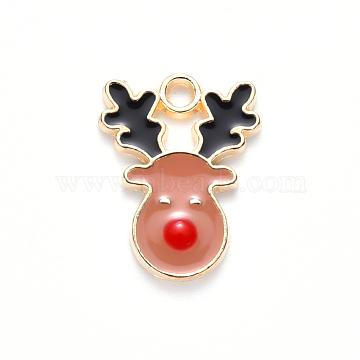 Alloy Enamel Pendants, for Christmas, Christmas Reindeer/Stag, Light Gold, DarkSalmon, 17x13x2mm, Hole: 1.6mm(X-ENAM-S121-013B)