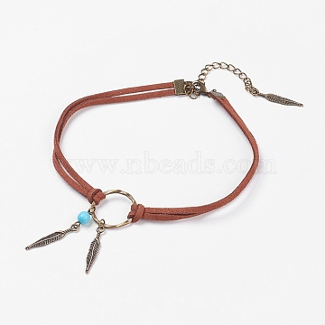 Choker Necklaces, with Alloy Feather Pendants, Synthetic Turquoise and Faux Suede Cord, Brass Lobster Claw Clasps and Iron Findings, Sienna, 12.2 inches(31cm), 6mm(X-NJEW-JN02167)