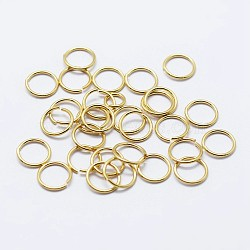 925 anneaux de saut ouverts en argent sterling, anneaux ronds, or, 6x0.6 mm; diamètre intérieur: 5 mm; sur 200 pcs / 10 g(STER-F036-02G-0.6x6mm)