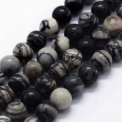 """Натуральный черный шелковый камень / чистые камни, круглые, 10 мм, Отверстие : 1 мм; около 37 шт / нитка, 14.76"""" (37.5 см)(G-I199-11-10mm)"""
