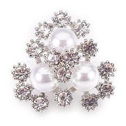 Boutons en laiton de strass, avec abs en plastique imitation perle, fleur, platine, 20.5x11.5mm, Trou: 1.2mm(KK-F752-03P)