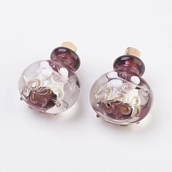pendentifs de bouteille de parfum fait main, bouteille d'huile essentielle, avec du sable d'or, SaddleBrown, 29.5~30 mm, trou: 5 mm(FOIL-P001-A04)
