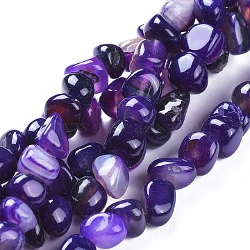 7mm Purple Nuggets Natural Agate Beads