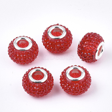 Resin Rhinestone European Beads, Large Hole Beads, with Platinum Plated Brass Double Cores, Rondelle, Berry Beads, Red, 14x10mm, Hole: 5mm(X-RPDL-T002-03F)