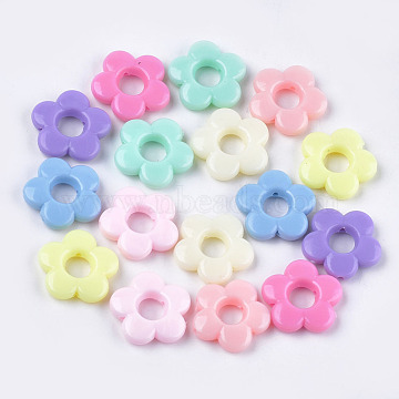 Opaque Acrylic Bead Frames, Flower, Mixed Color, 19x19.5x4.5mm, Hole: 1.5mm(X-MACR-S296-69)