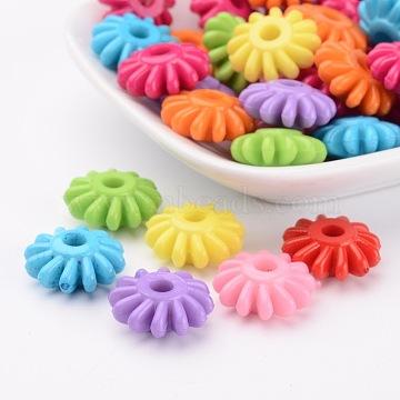Смешанные непрозрачные акриловые цветочные шарики для ювелирных изделий DIY и браслеты, 17x7 мм, отверстие : 4 мм(X-SACR-R733-M)