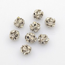 Brass Rhinestone Beads, with Iron Single Core, Grade A, Platinum Metal Color, Round, Crystal, 6mm in diameter, Hole: 1mm(X-RB-A019-6mm-01P)