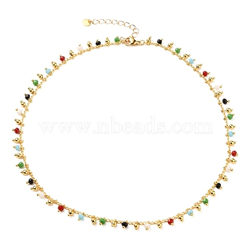 Brass Handmade Glass Beaded   Necklaces, with 304 Stainless Steel Heart Charms, Lobster Claw Clasps, Golden, Colorful, 15.86 inches(40.3cm)(NJEW-JN03135-02)