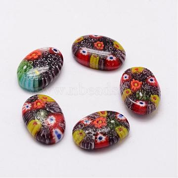 Handmade Millefiori Glass Cabochons, Oval, Mixed Color, 23x16x7mm(LAMP-G121-59)