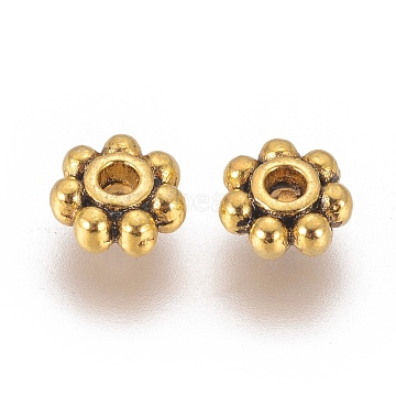 Tibetan Style Alloy Beads, Snowflake, for Christmas, Antique Golden, Cadmium Free & Nickel Free & Lead Free, 3x1mm, Hole: 1mm(X-K08YH032)