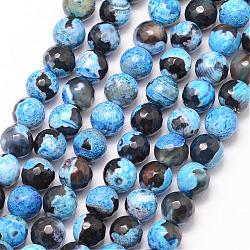 Natural Fire Agate Bead Strands, Round, Grade A, Faceted, Dyed & Heated, DeepSkyBlue, 8mm, Hole: 1mm; about 47pcs/strand, 15inches
