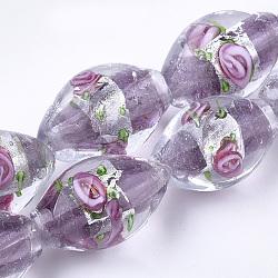 Argent à la main feuille perles de verre au chalumeau, ovale avec des fleurs, Mediumpurple, 16~17x9~11mm, Trou: 1.5~2mm(X-LAMP-Q030-02D)