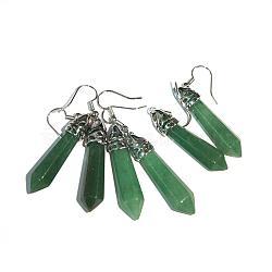 boucles d'oreilles fantaisie aventurine vert naturel, avec crochets d'oreilles en laiton, 50~56x8 mm, pin: 1 mm(EJEW-G073-4)
