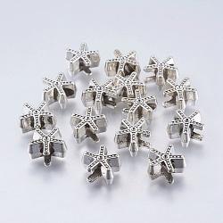 Alliage de style tibétain perles européennes supports strass cabochon, sans plomb, étoiles, argent antique, s'adapter pour 1 mm strass; 13x14x7 mm, Trou: 5mm(X-MPDL-7417-AS-RS)