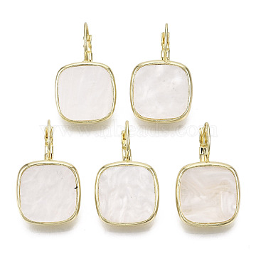 Acrylic Leverback Earrings, with Light Gold Plated Alloy Findings, Cadmium Free & Nickel Free & Lead Free, Square, White, 31mm, Square: 19x19mm, pin: 1mm(PALLOY-S125-105A-NR)